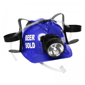 "Beer Sold To Miners"" Lighted Drinking Helmet, Blue"