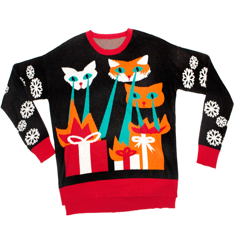 Cat Christmas Sweater.Ugly Christmas Sweater In A Box Laser Cat Zillas