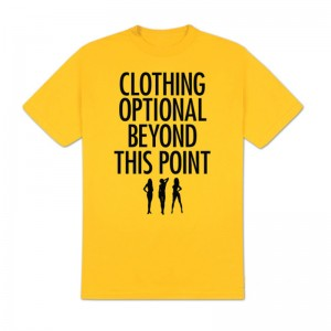 Clothing Optional T-Shirt, Yellow, X-Large