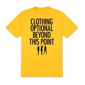 Clothing Optional T-Shirt, Yellow, X-Large